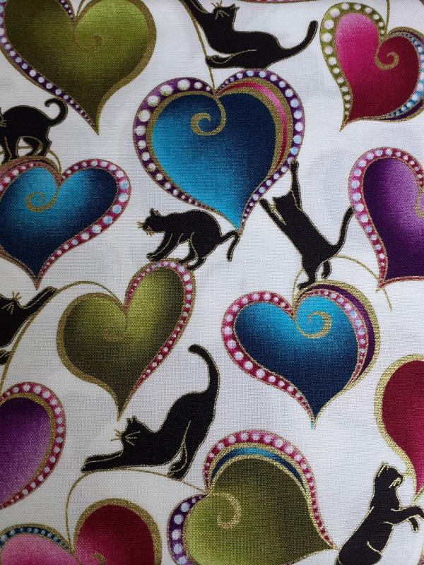 Cat-I-Tude 2-Cats and Hearts on White