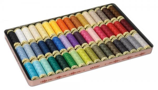 Gutermann Vintage Tin Thread set 100m basic colours x 48 reels