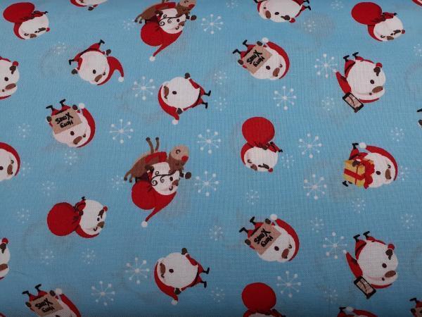 Santa's on Blue Background