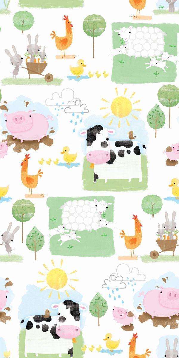 Playful Farm-Animals on White